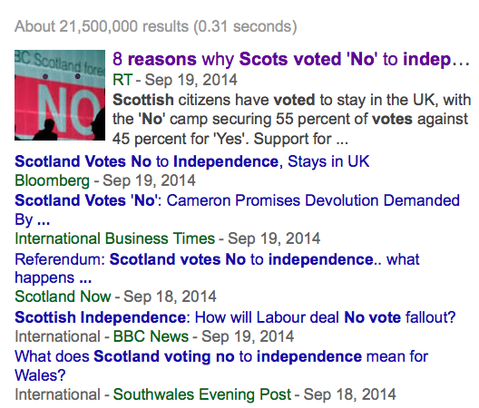 Search engine results page for Scottish independence