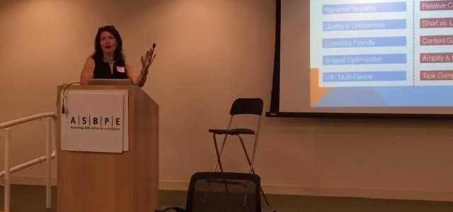 Jessica Levenson, vice president for search and engagement at TechTarget, addresses the Fall 2015 Boston/New England ASBPE chapter boot camp about the changing nature of search, SEO, and implications for editorial practice. (Photo courtesy of Roy Harris)